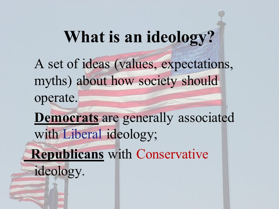 What is an ideology A set of ideas (values, expectations, myths) about how society should operate.