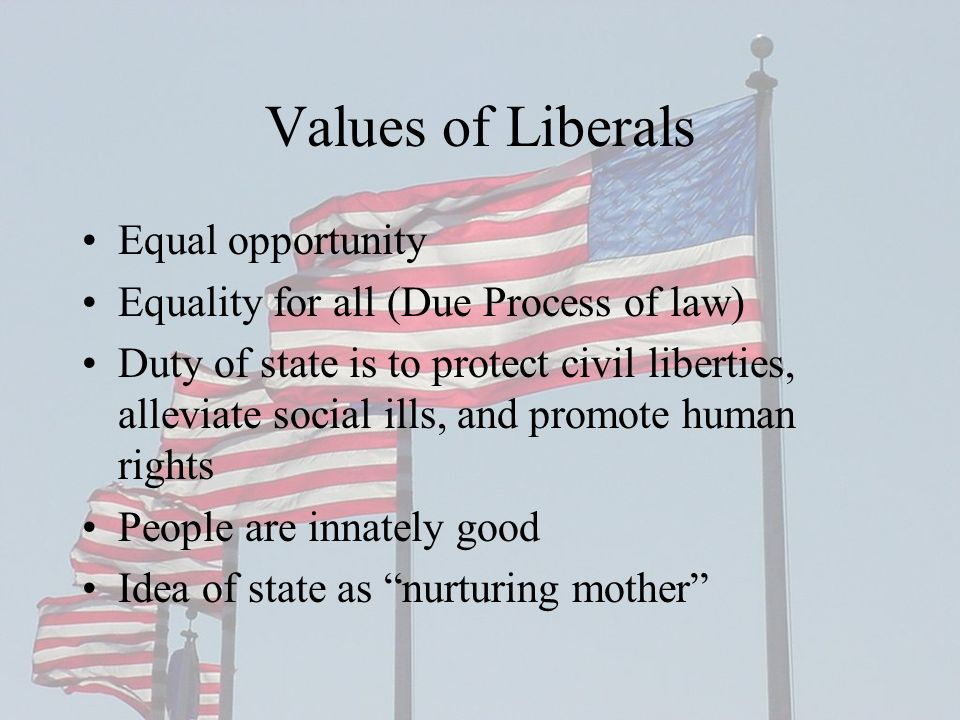 Values of Liberals Equal opportunity