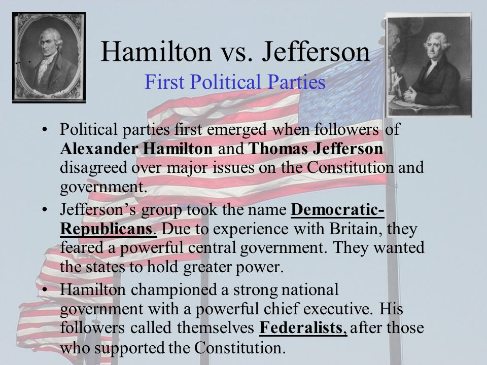 Hamilton vs. Jefferson First Political Parties