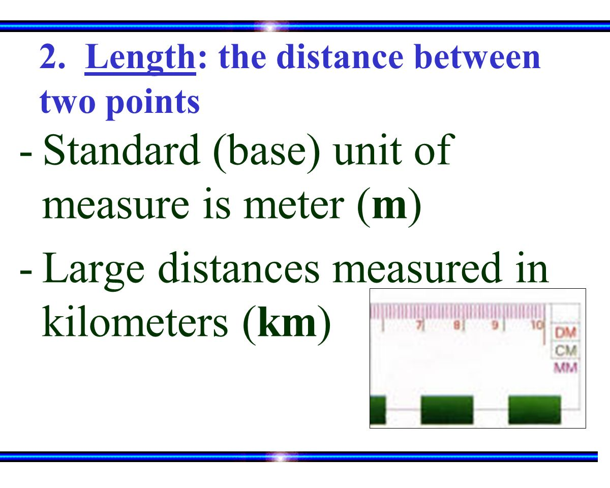 2. Length: the distance between two points