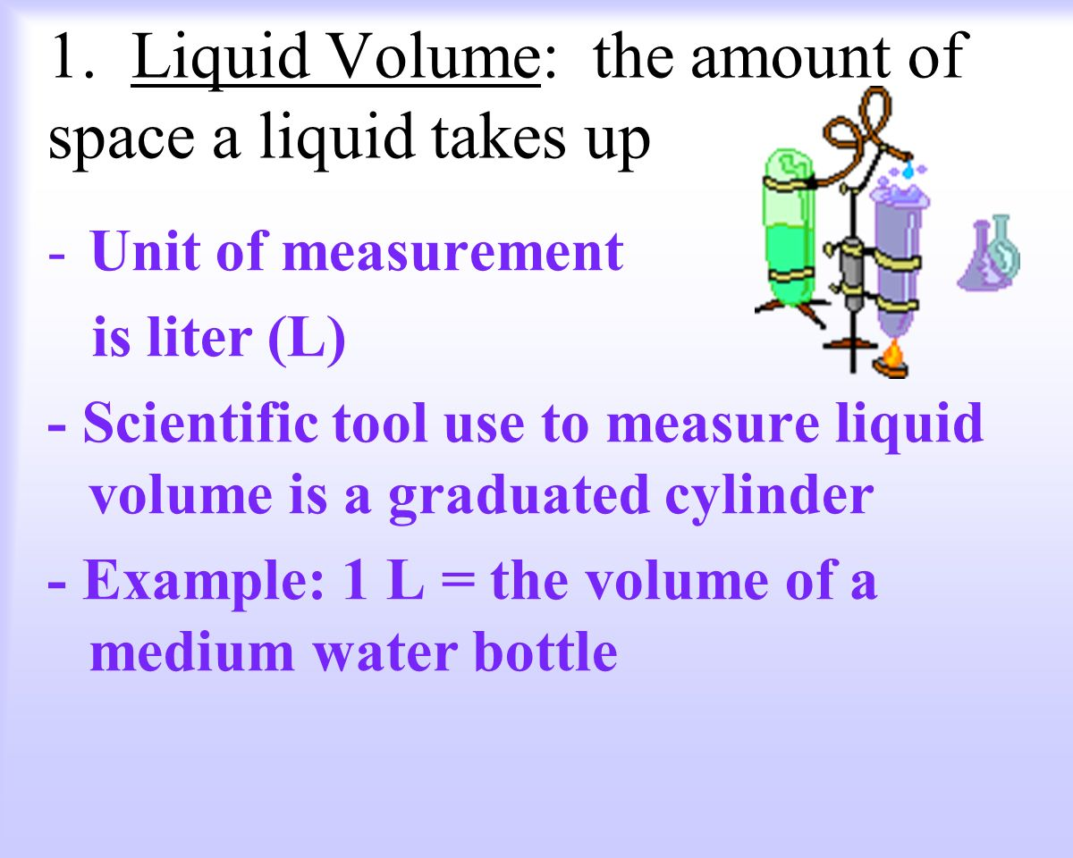 1. Liquid Volume: the amount of space a liquid takes up