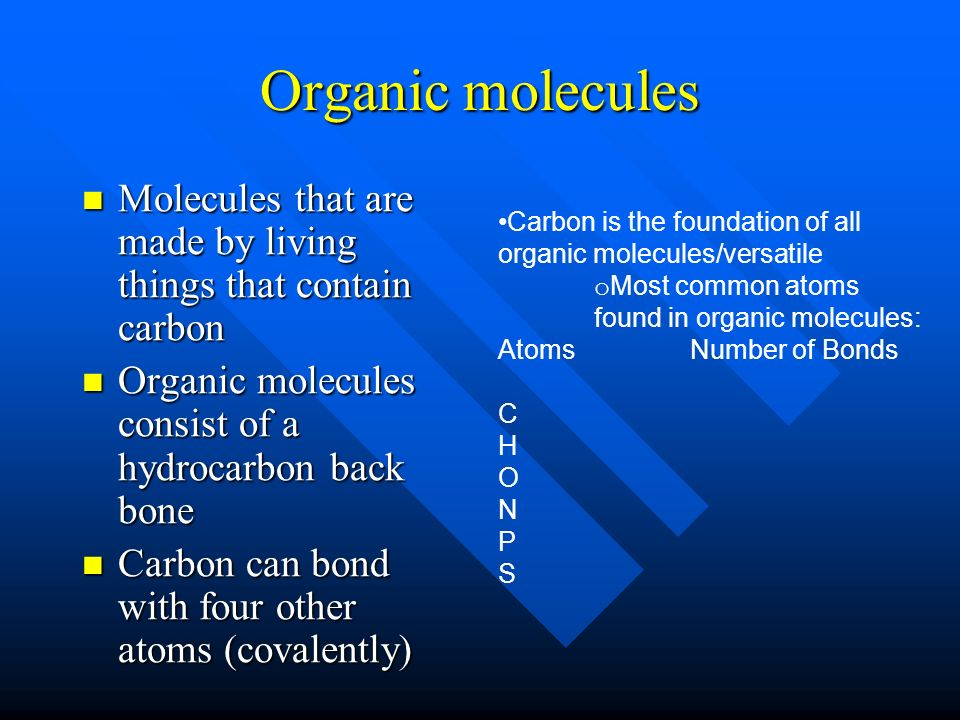 Organic Molecules Molecules That Are Made By Living Things That