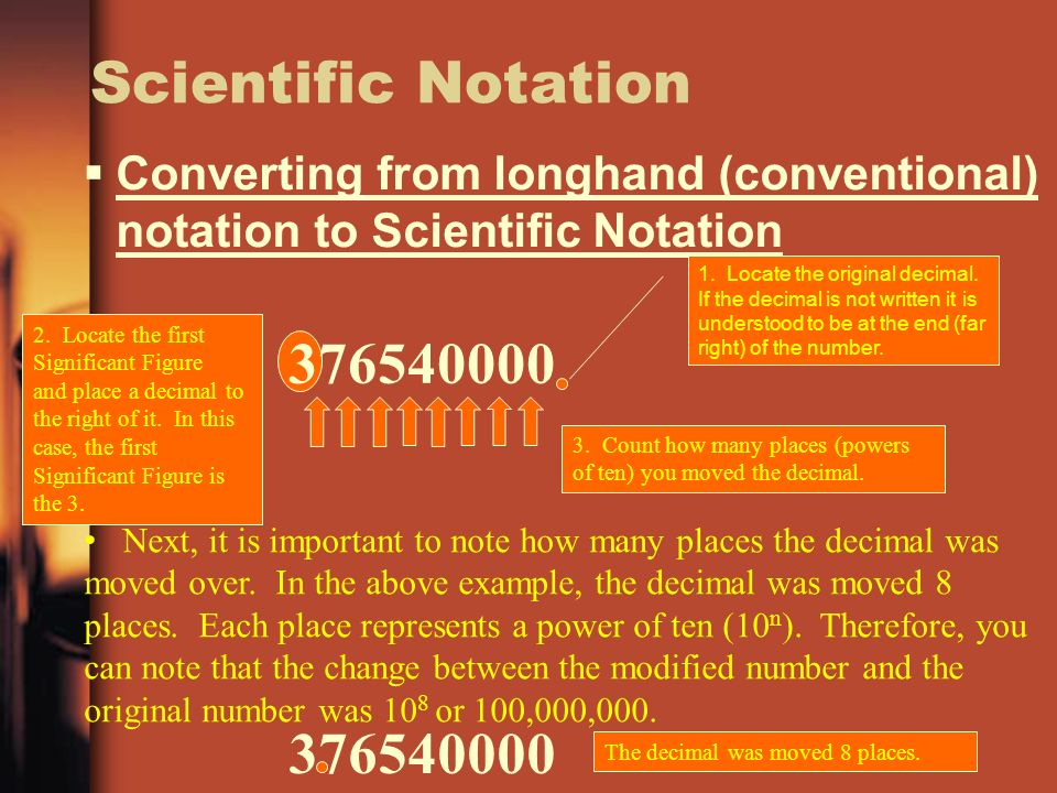 Scientific Notation Converting from longhand (conventional) notation to Scientific Notation.
