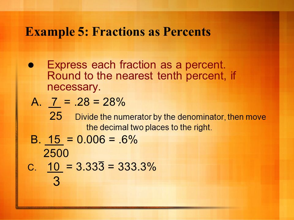 Chapter 6 Lesson 4 Fractions Decimals Percents Pgs Ppt Video Online Download