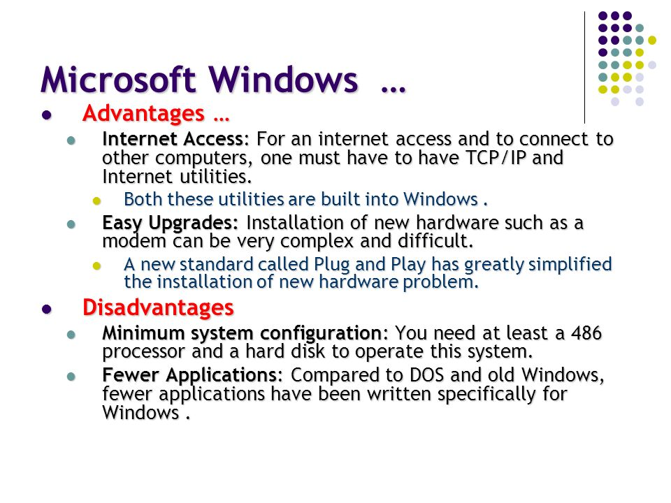 advantages and disadvantages of windows 2000 operating system