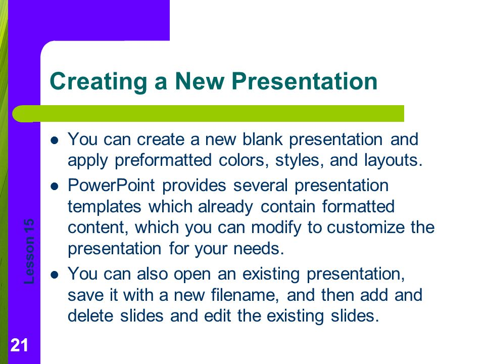 Lesson 15 getting started with powerpoint essentials ppt download creating a new presentation toneelgroepblik Choice Image