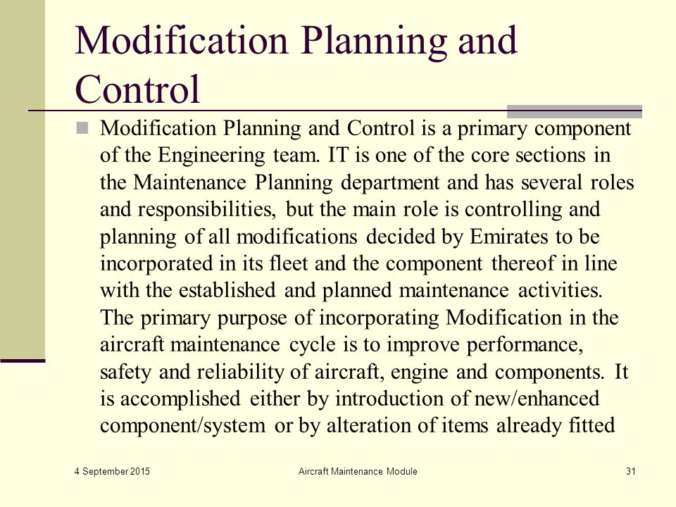 effective aircraft maintenance planning engineering essay 2 basics of aircraft maintenance programs for financiers | 10/1/2010 specified age, expressed as the number of operatin 10 introduction the industry definition of maintenance generally includes those tasks required to restore or.