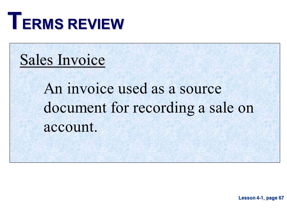 TERMS REVIEW Sales Invoice