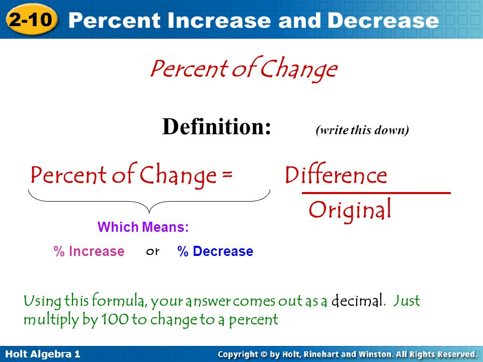 Percent Increase and Decrease - ppt video online download