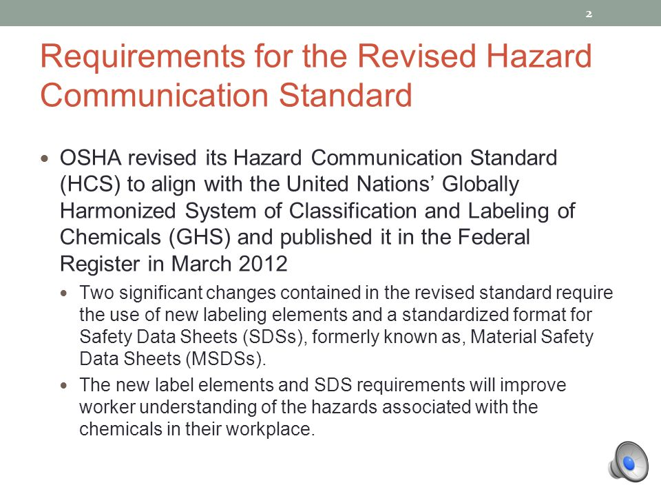 Revised Hazard Communication Standard Including Ghs