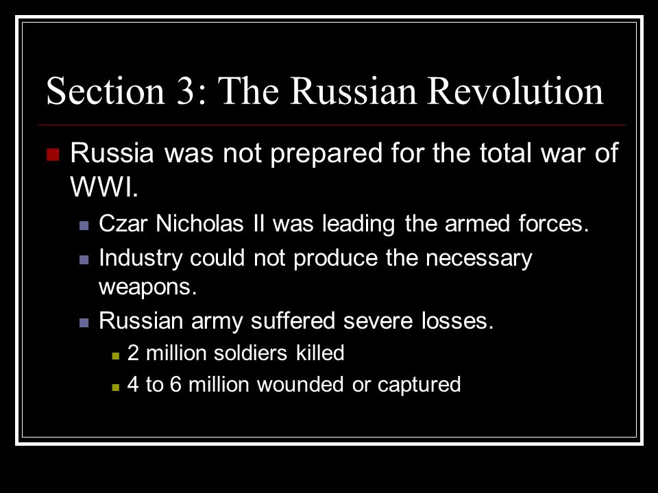 Section 3: The Russian Revolution