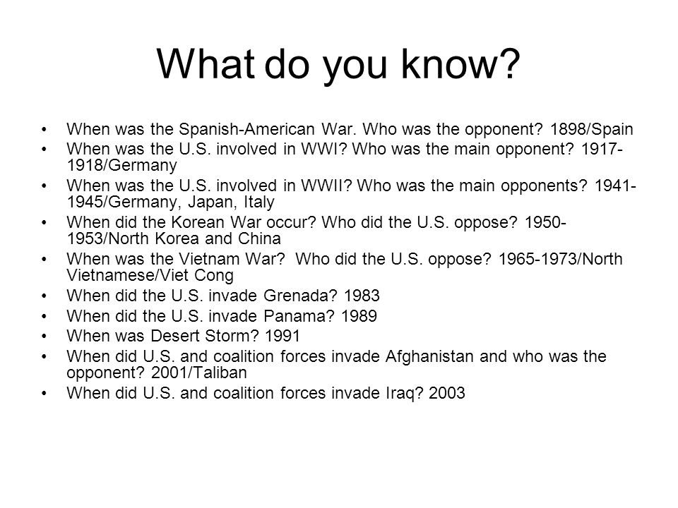What do you know When was the Spanish-American War. Who was the opponent 1898/Spain.