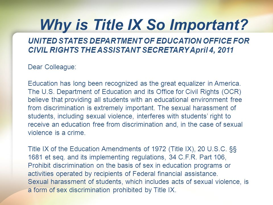 title ix legislation analysis Title ix has been a controversial law involving amateur sports since it was enacted, the number and as a result of this legislation, women have directly benefitted from the creation of new programs are males, therefore, unable to claim reverse discrimination under a title ix analysis probably not.
