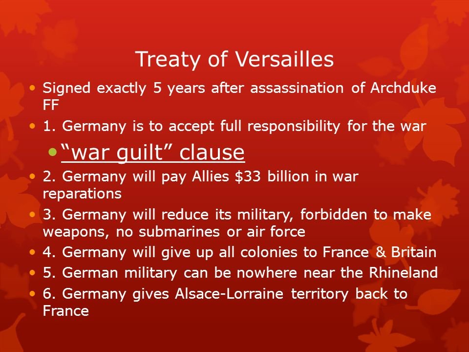 Treaty of Versailles war guilt clause