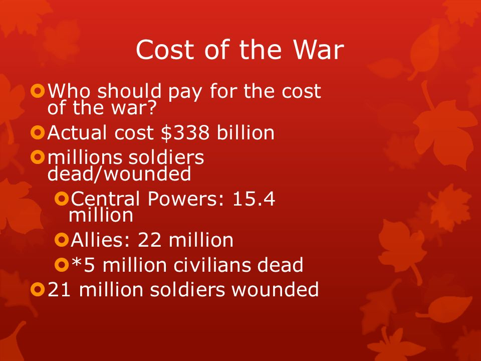 Cost of the War Who should pay for the cost of the war