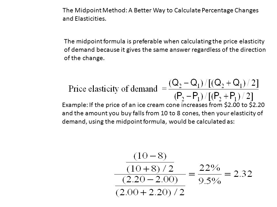 Price Elasticity Of Demand Midpoint Formula Example Pregnancy