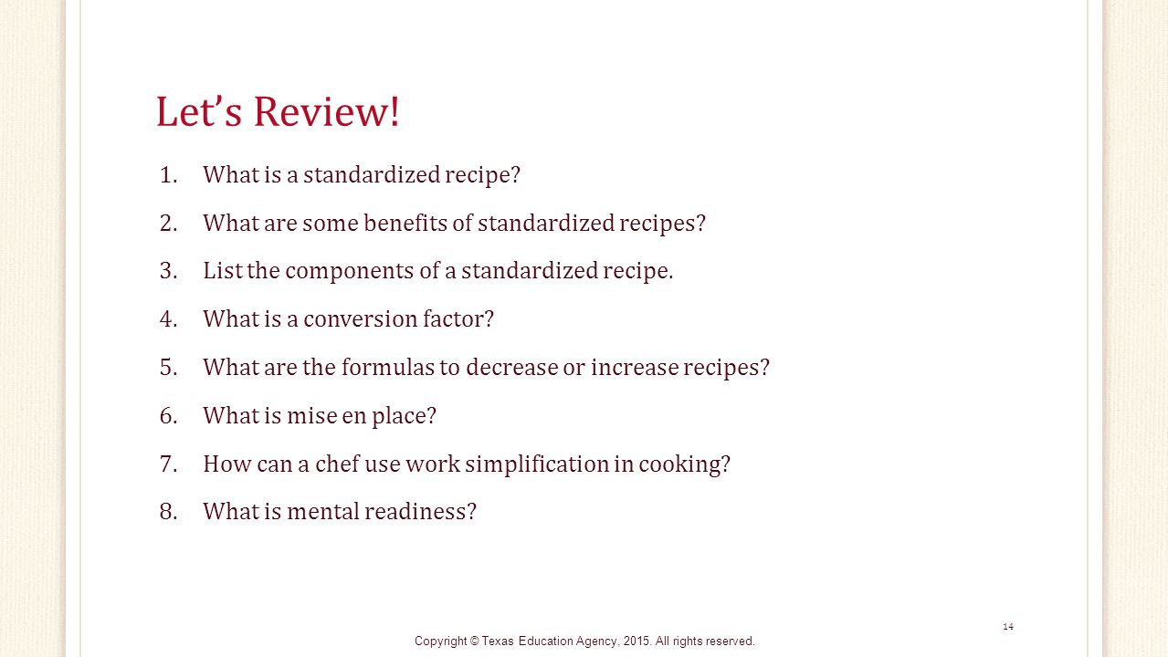 Recipe for Success: Breaking Down Standardized Recipes - ppt video ...
