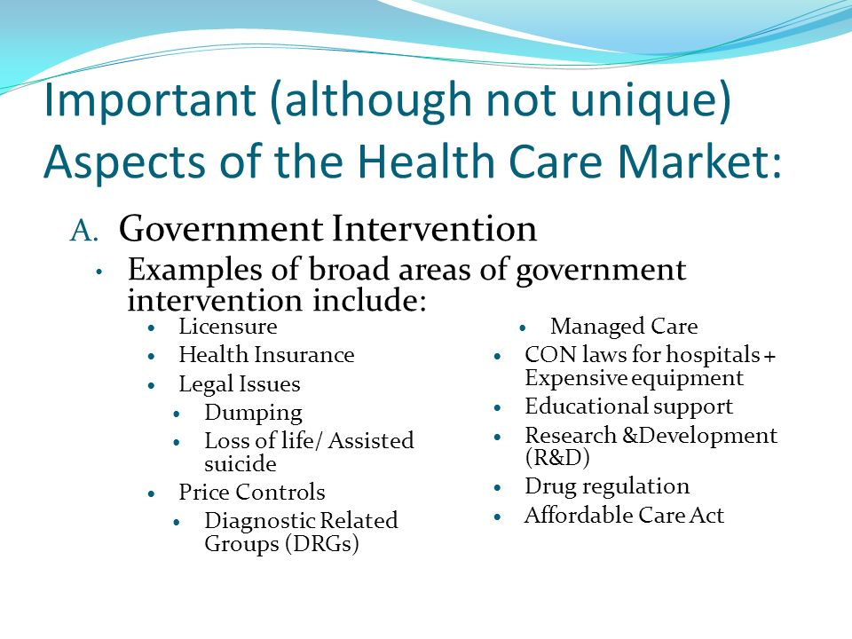 examples of government intervention in healthcare