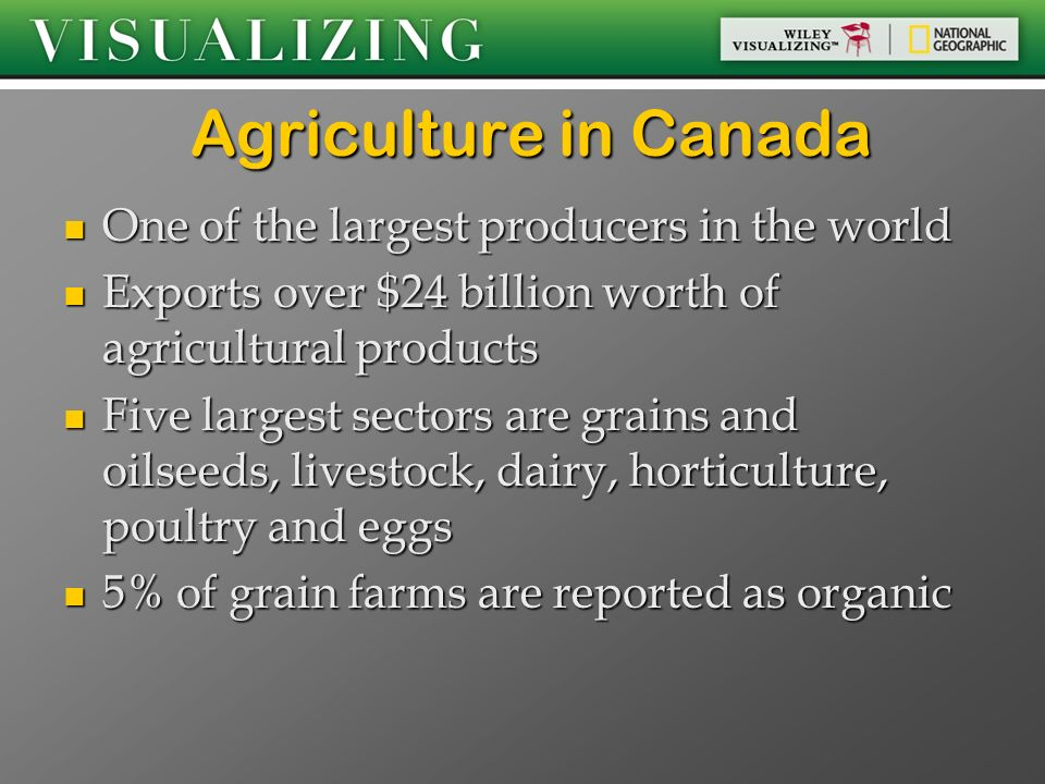 Agriculture in Canada One of the largest producers in the world