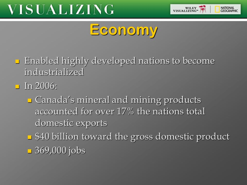 Economy Enabled highly developed nations to become industrialized
