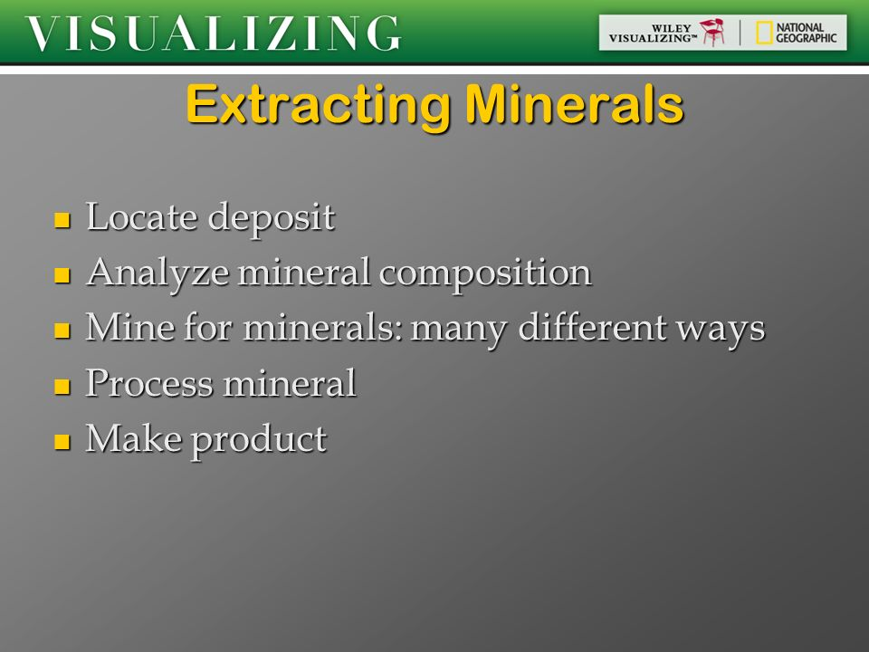 Extracting Minerals Locate deposit Analyze mineral composition