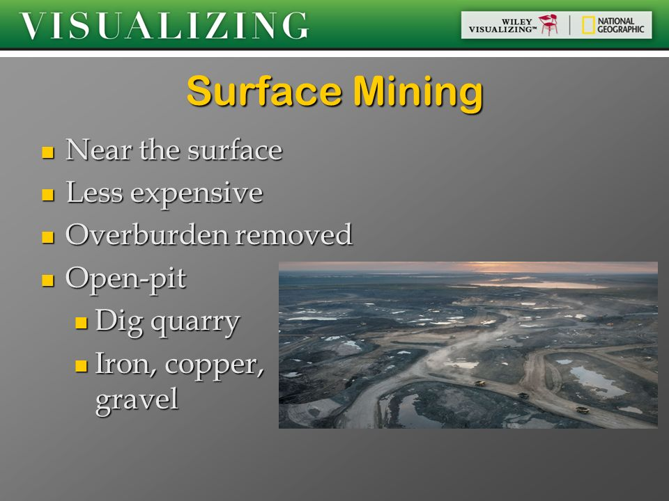Surface Mining Near the surface Less expensive Overburden removed
