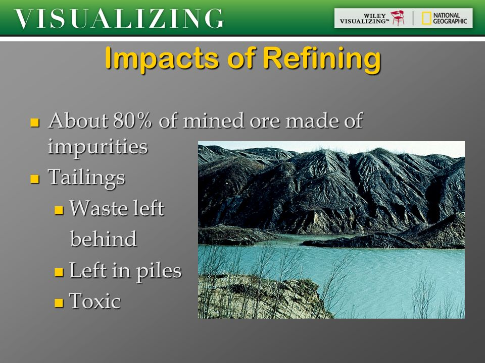 Impacts of Refining About 80% of mined ore made of impurities Tailings