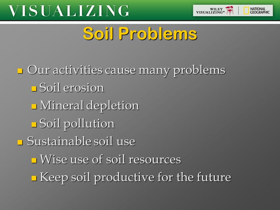 Soil Problems Our activities cause many problems Soil erosion