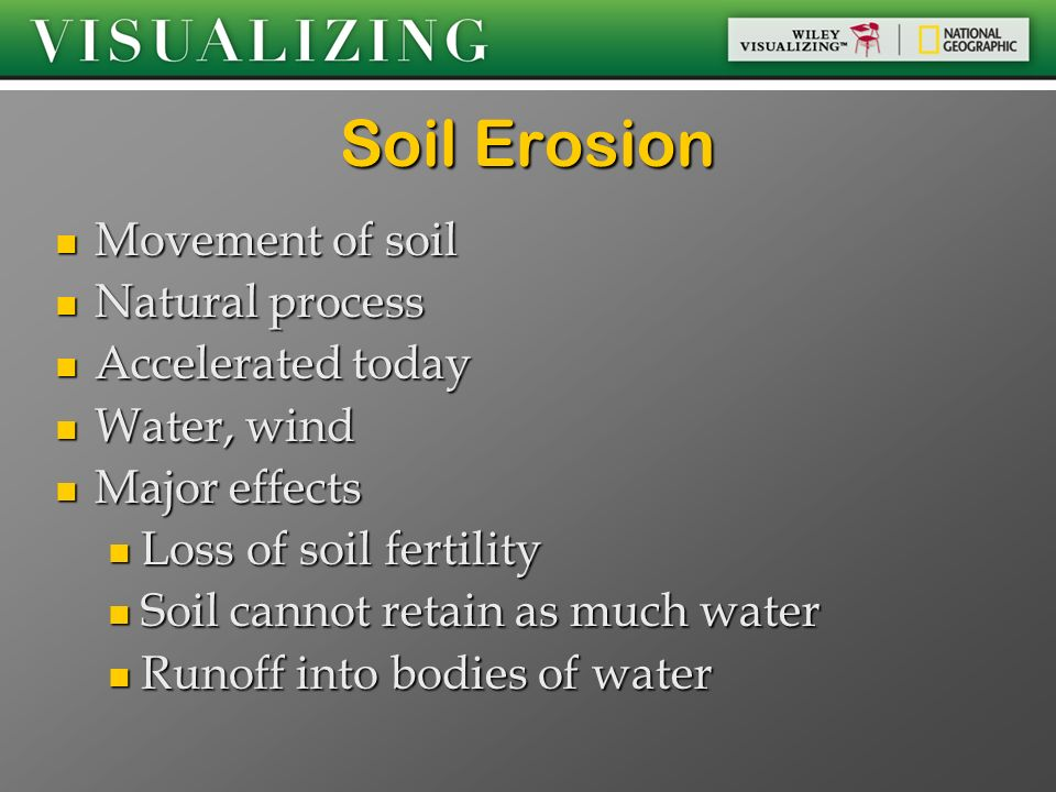Soil Erosion Movement of soil Natural process Accelerated today
