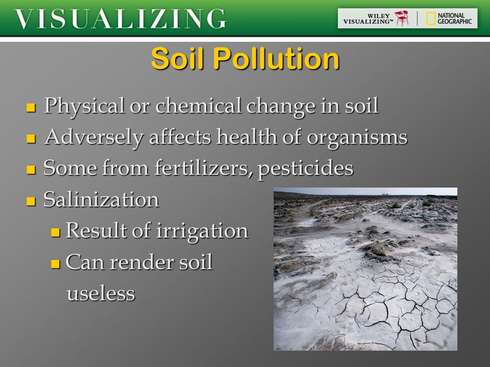 Soil Pollution Physical or chemical change in soil