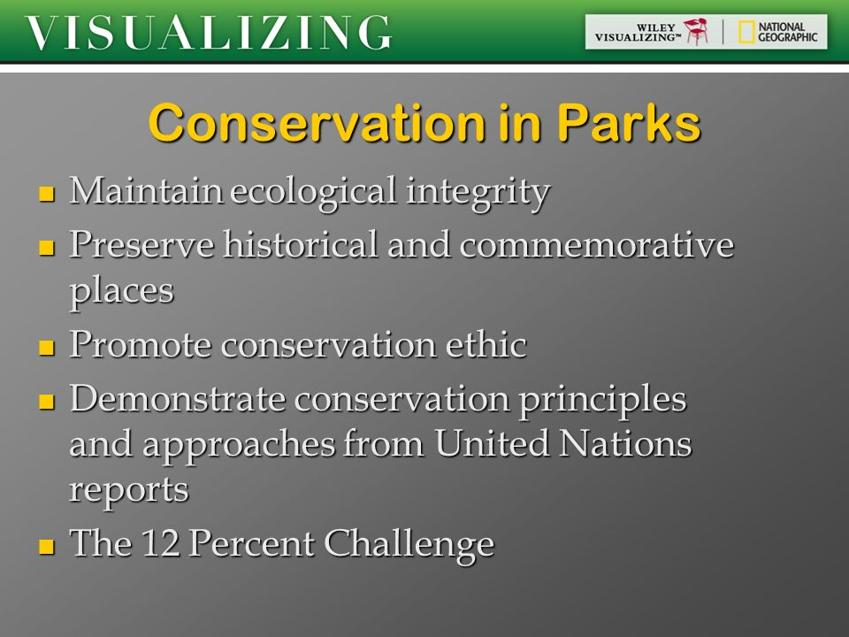 Conservation in Parks Maintain ecological integrity