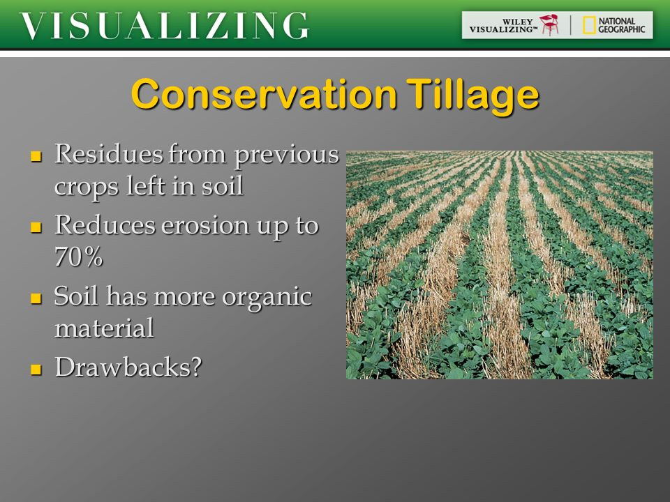 Conservation Tillage Residues from previous crops left in soil