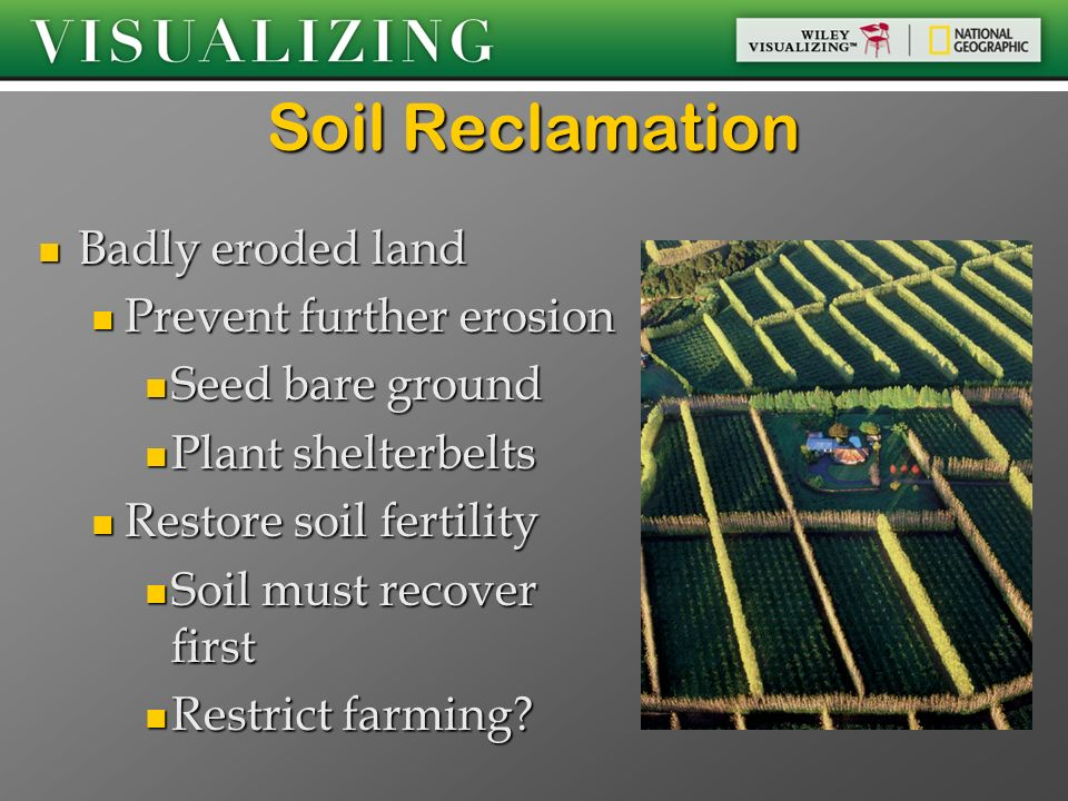 Soil Reclamation Badly eroded land Prevent further erosion