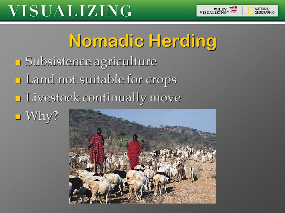 Nomadic Herding Subsistence agriculture Land not suitable for crops