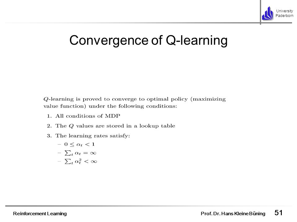 Convergence of Q-learning