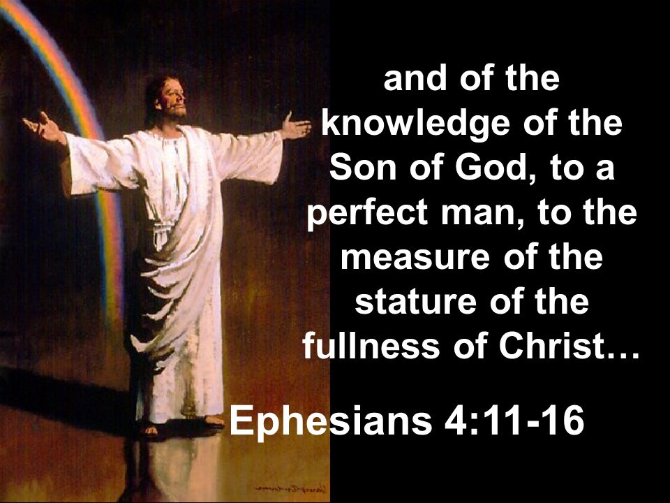 and of the knowledge of the Son of God, to a perfect man, to the measure of the stature of the fullness of Christ…