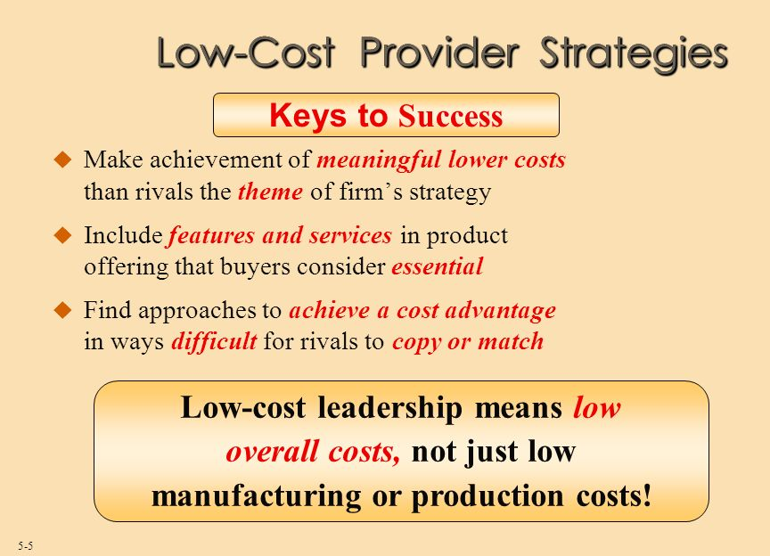 a low cost provider strategy
