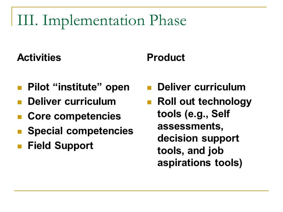 III. Implementation Phase