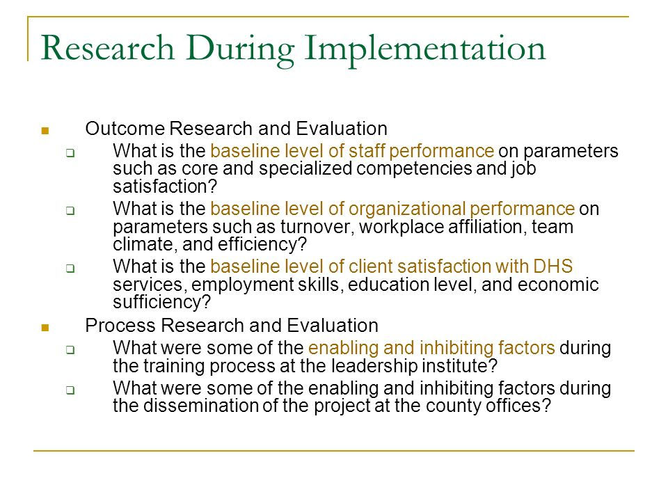 Research During Implementation