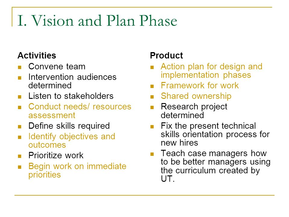 I. Vision and Plan Phase Activities Convene team