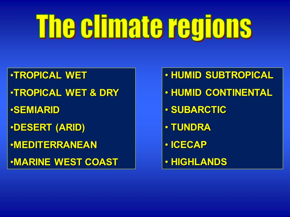 The climate regions TROPICAL WET TROPICAL WET & DRY SEMIARID