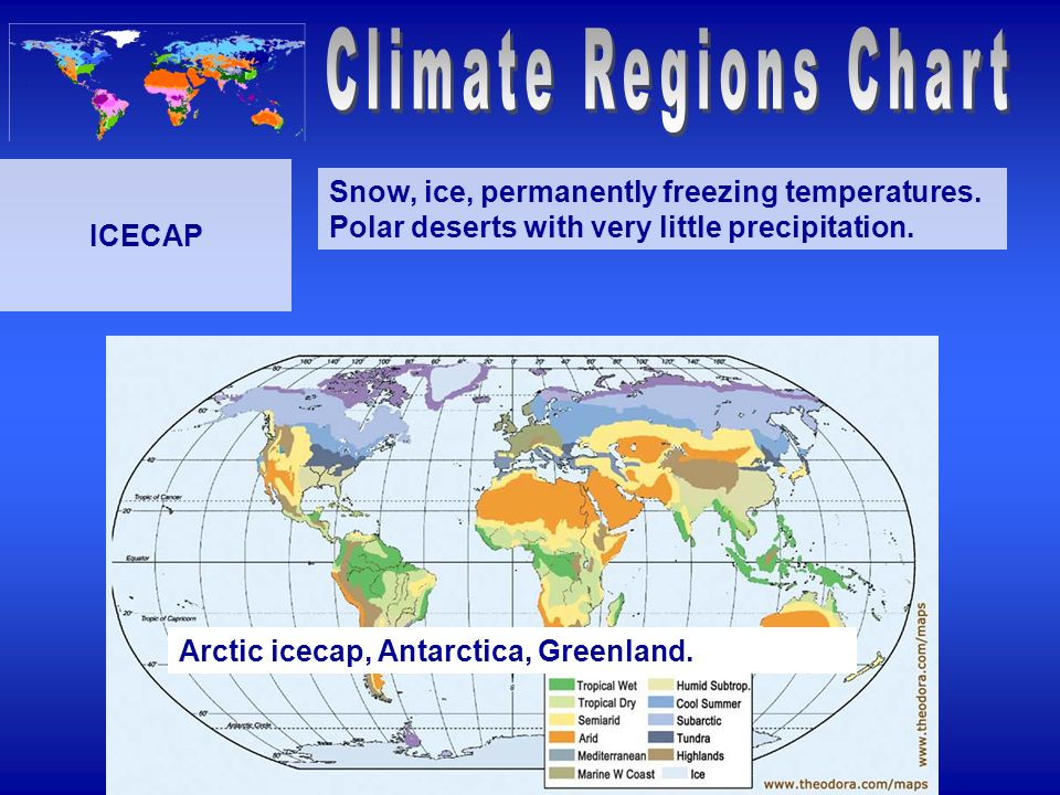 Climate Regions Chart ICECAP. Snow, ice, permanently freezing temperatures. Polar deserts with very little precipitation.