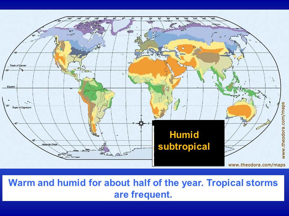 Humid subtropical Warm and humid for about half of the year. Tropical storms are frequent.