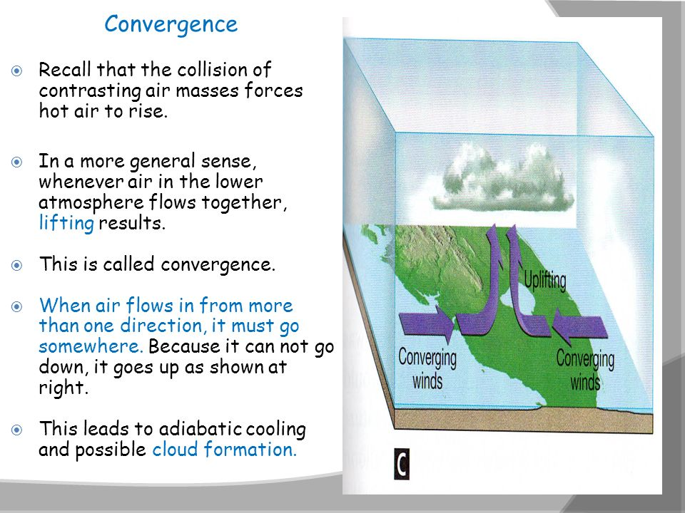 Convergence Recall that the collision of contrasting air masses forces hot air to rise.