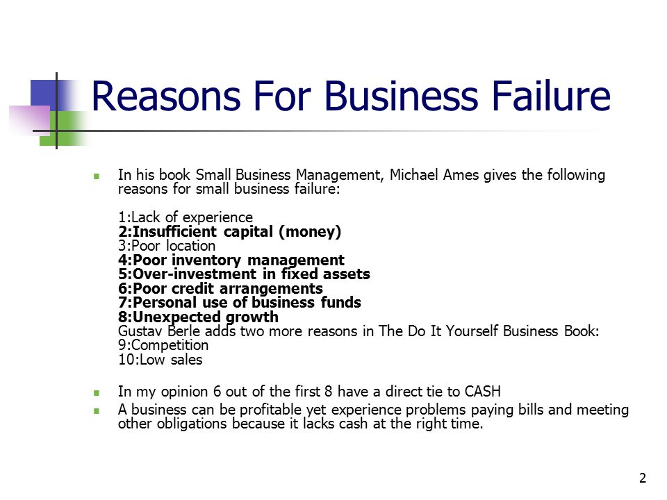Lets understand how cash flow works ppt video online download 2 reasons for business failure solutioingenieria Images