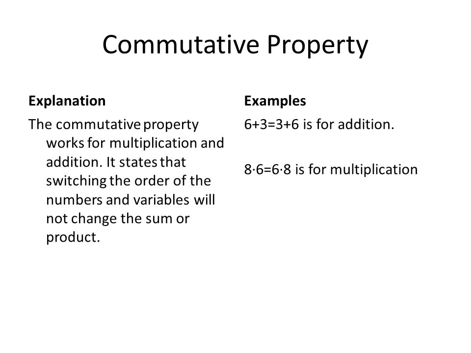Commutative Property Explanation Examples