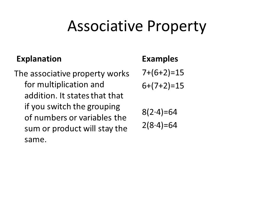 Associative Property Explanation Examples