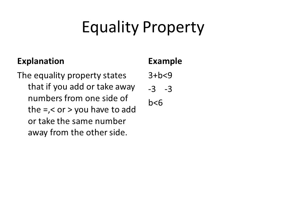 Equality Property Explanation Example