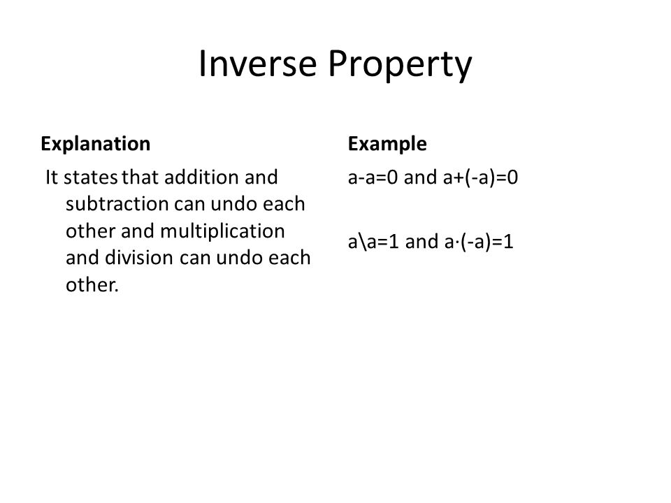 Inverse Property Explanation Example