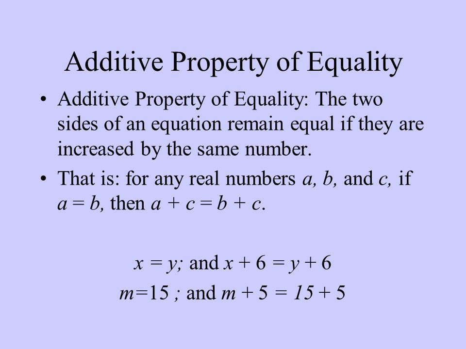 Additive Property of Equality